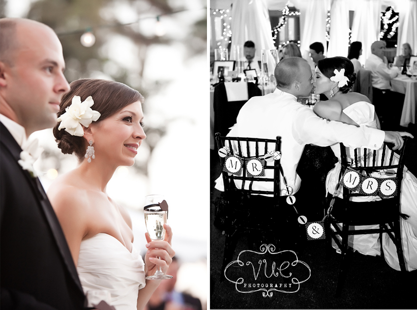 champagne and black wedding reception