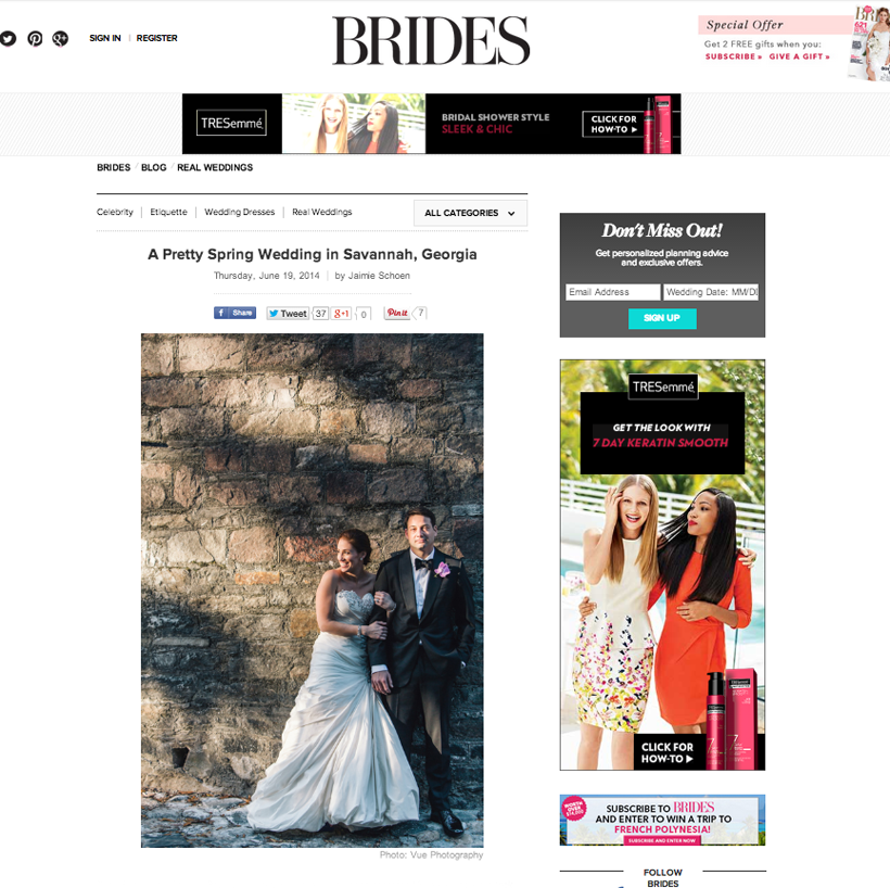 BRIDES Magazine online feature: Dana and Brian
